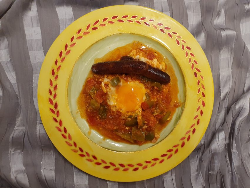 Ojja with eggs and merguez