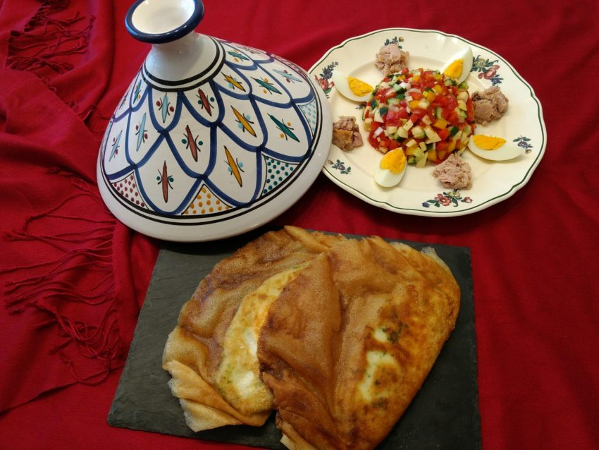 Brick pastry and the Tunisian salade are ready